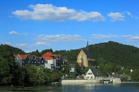 Germany, Wuppertal, Wupper, Bergisches Land, North Rhine-Westphalia, NRW, D-Wuppertal-Beyenburg, panoramic view with Beyenburg reservoir and church Ma...