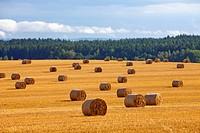 czech republic, southern bohemia _ bales of hay