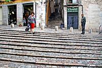 Staircase, Jewish Quarter, Girona, Catalonia, Spain.