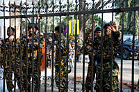 BDR men at the main gate of BDR Headquarters, in Pilkhana Dahka, Bangladesh February 26, 2009 A mutiny by Bangladesh Rifles, BDR, soldiers broke out i...