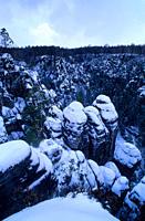 Europe, Germany, Saxony, Elbe Sandstone Mountains, Saxon Switzerland, snow covered Felsenburg Neurathen