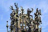 Fastnachtsbrunnen fountain, monument on Schillerplatz square, Old Town, Mainz, Rhineland_Palatinate, Germany