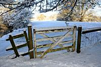 A gate in the snow, Oxfordshire UK