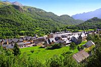 Panticosa village high view slate roofs Pyrenees Huesca Spain