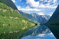 Scenic reflection in Naeroyfjord, Norway