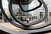 """"""" Deux lignes indéterminées """" sculpture by Bernar Venet, La Defense business district, Paris, France."""