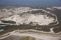 Aerial view of China Clay pits in Cornwall Uk England
