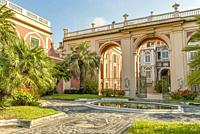 The Garden of the famous Palazzo Reale in Genua in Liguria, North West Italy