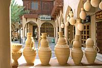 Oman sound jugs in the Souq of Nizwa, Clay pots at the handicraft souk Nizwa Oman