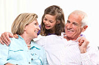 Granddaughter 6_7 and grandparents enjoying, smiling