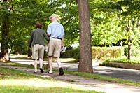 Senior couple walking in neighborhood