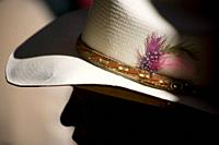Feathers decorate a cowboy hat of a spectator at the National Charro Championship in Pachuca, Hidalgo State, Mexico. Escaramuzas are similar to US rod...