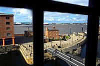 Albert Dock and Mersey river Liverpool  England  UK