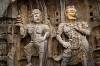 China,Henan Province,Luoyang,Buddhist sculpture at Longmen Grottoes