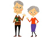 Illustration of an older couple waving