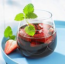 Red wine puch with strawberries and mint