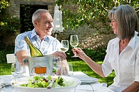 Mature couple having lunch outdoors