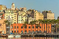 The Porto Antico in front of the old town of Genua, Liguria, North West Italy