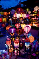 handcrated lanterns shop at night  Hoi An, Vietnam, Asia
