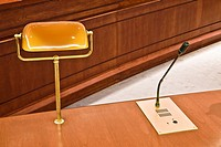 Desk light and microphone in a conference room