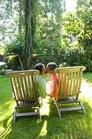 Seniors kissing outdoors