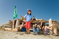 Group of children in beach fort