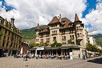 Switzerland, Canton Valais, Brig, the main Square in the old town Stadtplatz