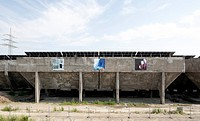 Ore and coal bunkers of the former Schalker Verein steelworks, art action Starke Orte, Strong Places, European Capital of Culture 2010, Gelsenkirchen,...