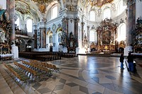 Interior of the Basilica of Ottobeuren Abbey, Diocese of Augsburg, Ottobeuren, Upper Swabia, Lower Allgaeu, Bavaria, Germany, Europe
