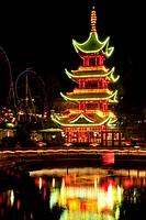 The Chinese Tower in Tivoli with Christmas decoration, Copenhagen, Denmark, Europe
