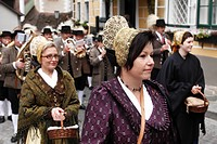 Women wearing traditional gold caps during a Thanksgiving procession, Thanksgiving Festival, Spitz, Wachau, Waldviertel, Forest Quarter, Lower Austria...