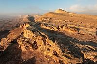 Israel, Negev Desert, the western rim of the Makhtesh Gadol Big Crater
