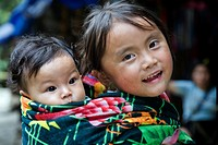 little girl and brother in Cat Cat village  Sapa, Lao Cai province, Vietnam