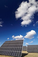 group of solar panels for production of renewable electrical energy in Saragossa province, Aragon, Spain