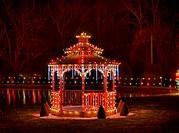 Gazebo decorated with Christmas lights, Koziar´s Christmas Village, Bernville, PA, Pennsylvania, USA