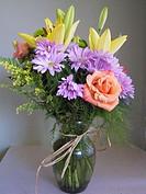 Flower arraingment in glass vase