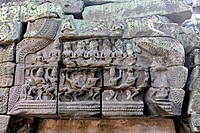 Relief with Apsara dancers, Ta Prohm temple, Angkor, UNESCO World Heritage Site, Siem Reap, Cambodia, Southeast Asia, Asia
