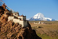 Tibetan Buddhism, monastery on the mountain slope, rocks, Chiu Gompa, snow-covered sacred Mount Kailash, south side with channel, Gang-Tise-Mountains,...