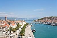 Overlooking the historic town of Trogir from Kamerlengo fortress, Adriatic Coast, Dalmatia, Croatia, Europe