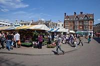 Market in the university city of Cambridge, Great Britain, Europe