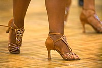 Detail of a female dancer´s dancing shoes at a dancing competition, Germany, Europe