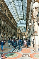 People walking in the Vittorio Emanuele Gallery, La Galleria, Milan, Italy, Europe