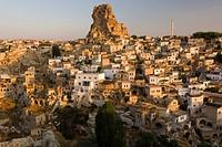 Morning light on Ortahisar, Cappadocia, Anatolia, Turkey, Asia