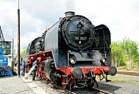 Class 50 steam locomotive no. 50 3501 at the German Steam Locomotive Museum, Neuenmarkt, Franconia, Bavaria, Germany, Europe