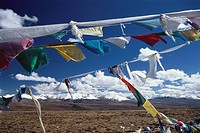 Prayer flags at Gyatso_La on Friendship Highway, Province Tsang, Tibet, Asia