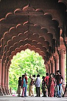 Indian tourists at Red Fort, Old Delhi, Delhi India