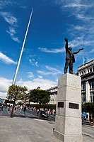 Statue of Jim Larkin and the Spire, O´Connell Street, Dublin, County Dublin, Ireland