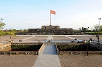 Citadel of the Imperial City in Hue, flagpole, Hue, North Vietnam, Vietnam, Southeast Asia, Asia