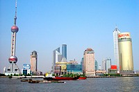 View at the Huangpu river and the skyline of Pudong, Shanghai, China, Asia