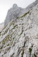 Mountain hiking at Wetterstein range, Bavaria, Germany